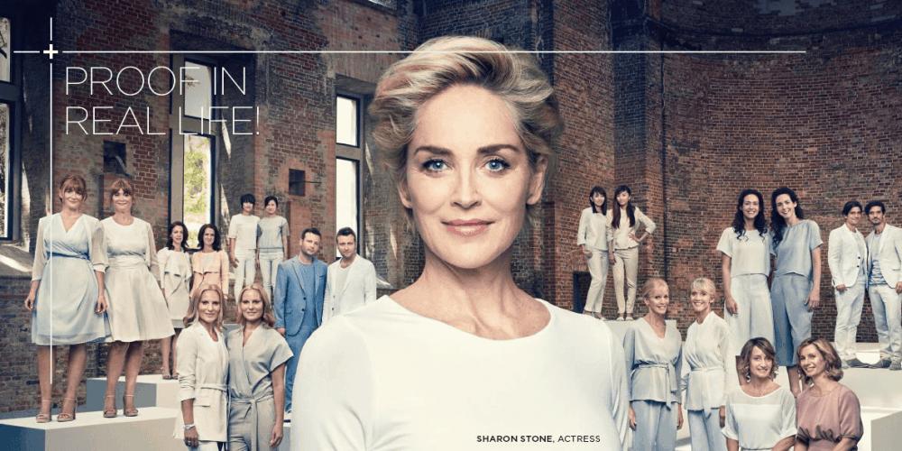 Sharon Stone gezicht van Galderma